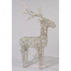 60cm White Wicker Standing Reindeer Outdoor - Cool White LED