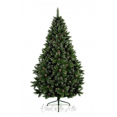 210cm/7ft Artificial Green Christmas Tree with Pine Cones and Light Snow Effect